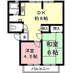 岐阜県羽島市福寿町平方8丁目の賃貸アパートの間取り
