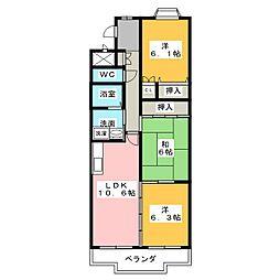 プレステージ黒沢台[3階]の間取り