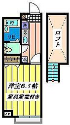 JR京浜東北・根岸線 大宮駅 バス24分 庚申塚停下車 徒歩4分の賃貸アパート 2階1Kの間取り