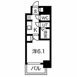 名古屋市営桜通線 今池駅 徒歩6分の賃貸マンション 13階1Kの間取り