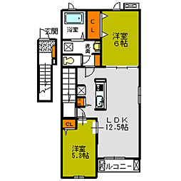 プランドールA・B[B202号室]の間取り