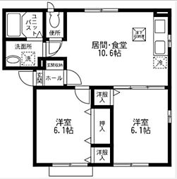 神奈川県横浜市緑区白山3丁目の賃貸アパートの間取り