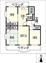 ガーデンハイツB棟[4階]の間取り