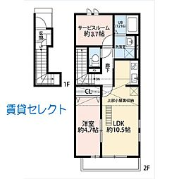 千葉県松戸市高塚新田の賃貸アパートの間取り