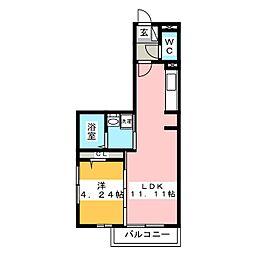 仮)D-room花畑PJ 2階1LDKの間取り