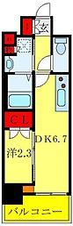 日暮里舎人ライナー 西日暮里駅 徒歩6分の賃貸マンション 11階1DKの間取り