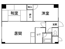 アクティブプラザ上野幌 3階2LDKの間取り