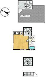 都営大江戸線 西新宿五丁目駅 徒歩4分の賃貸アパート 3階ワンルームの間取り