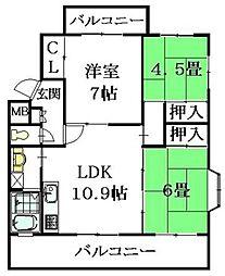 広島県広島市安佐南区伴東2丁目の賃貸マンションの間取り