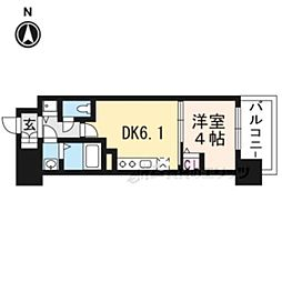 京都地下鉄東西線 太秦天神川駅 徒歩6分の賃貸マンション 2階1DKの間取り