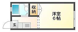 岡山県岡山市北区奥田本町の賃貸アパートの間取り