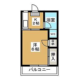 榎本ハイツA 2階1Kの間取り