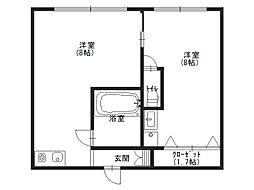 加賀山コーポ1 2階1DKの間取り