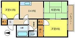 兵庫県姫路市飾磨区三宅1丁目の賃貸アパートの間取り