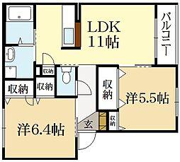 シャーメゾンUN[2階]の間取り