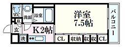 JR芸備線 矢賀駅 徒歩12分の賃貸アパート 1階1Kの間取り