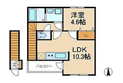 アスピリア三矢小台[2階]の間取り