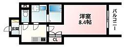 Osaka Metro御堂筋線 西中島南方駅 徒歩2分の賃貸マンション 3階1Kの間取り