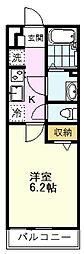 リブリ・i RAY II(リブリ・アイレイツー) 2階1Kの間取り