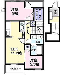 東京都あきる野市野辺の賃貸アパートの間取り