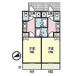 LIEN読売ランド[101号室]の間取り