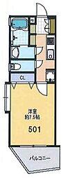 西武新宿線 小平駅 徒歩23分の賃貸マンション 4階1Kの間取り
