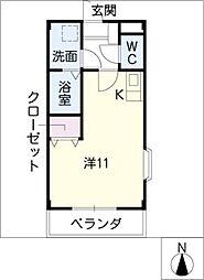 愛知県あま市甚目寺五位田の賃貸マンションの間取り