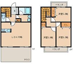 福岡県北九州市小倉南区上曽根2丁目の賃貸マンションの間取り
