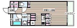 ガリレイ新町 5階ワンルームの間取り