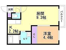 Miamoglie  Shinsapporo 4階1LDKの間取り