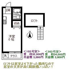 サンコートフジミ[2階]の間取り