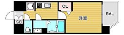 プレミアムコート阿波座ウエスト 11階1Kの間取り