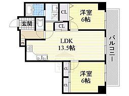 サンパレス新大阪[4階]の間取り