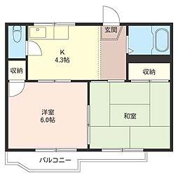 第一 押田 ハイツ[2階]の間取り
