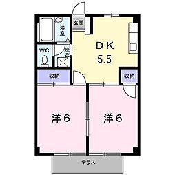 岡山県岡山市東区楢原の賃貸アパートの間取り