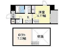 阪神なんば線 千鳥橋駅 徒歩3分の賃貸マンション 10階1Kの間取り