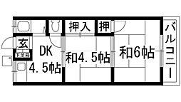 兵庫県川西市松が丘町の賃貸アパートの間取り