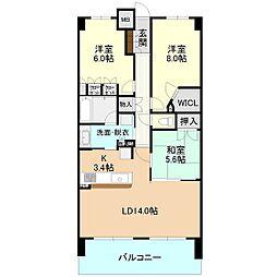 茨城県つくば市学園南2丁目の賃貸マンションの間取り