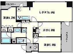 クラッシィタワー南船場 10階3LDKの間取り