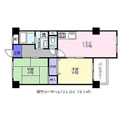 田守コーポハル[4階]の間取り