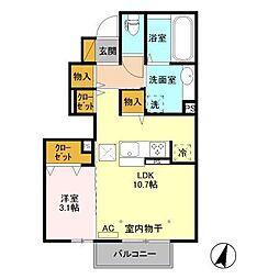 長野県千曲市新田の賃貸アパートの間取り