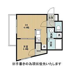 アレックス野幌II 3階1DKの間取り