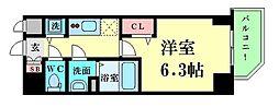 Osaka Metro四つ橋線 肥後橋駅 徒歩10分の賃貸マンション 2階1Kの間取り