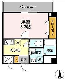 京成千葉線 千葉中央駅 徒歩3分の賃貸マンション 2階1Kの間取り