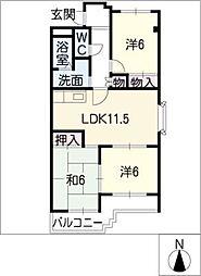 パークサイドJ2 B棟[2階]の間取り