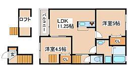 兵庫県三木市府内の賃貸アパートの間取り
