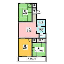 エスペランス桃山E棟[1階]の間取り
