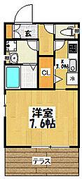 大阪府大阪市東成区神路3丁目の賃貸アパートの間取り