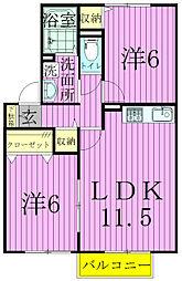 千葉県松戸市金ケ作の賃貸アパートの間取り