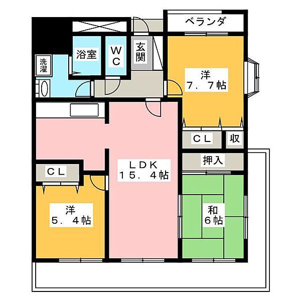 愛知県名古屋市瑞穂区陽明町1丁目の賃貸マンションの間取り
